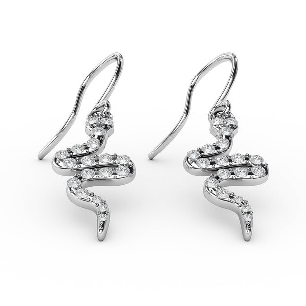 1/3 CT. TW Sterling Silver Lab-Grown Diamond Snake Dangle Earrings