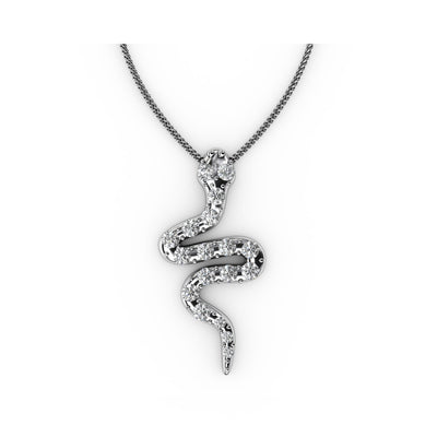 ¼ CT TW <strong>Sterling Silver</strong> Lab-Grown Diamond Snake Pendant