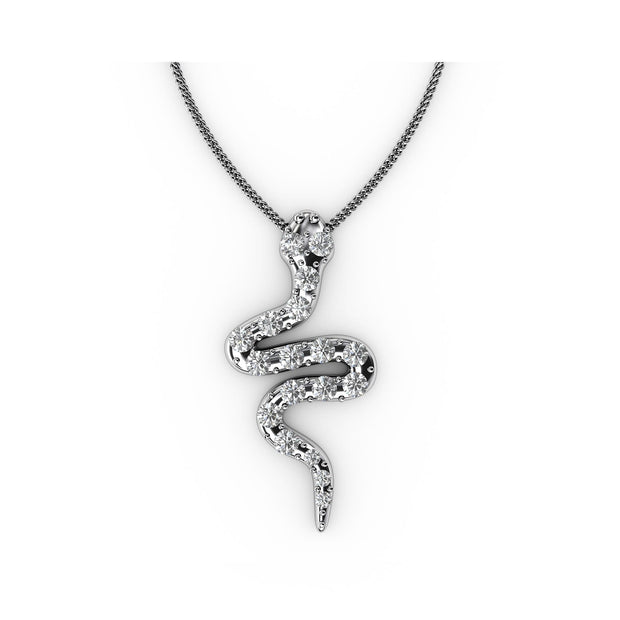1/4 CT. TW Sterling Silver Lab-Grown Diamond Snake Pendant