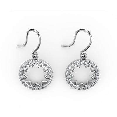 3/8 CT. TW Sterling Silver Lab-Grown Diamond Open Starburst Medallion Dangle Earrings