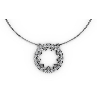 ½ CT TW <strong>Sterling Silver</strong> Lab-Grown Diamond Open Starburst Medallion Necklace
