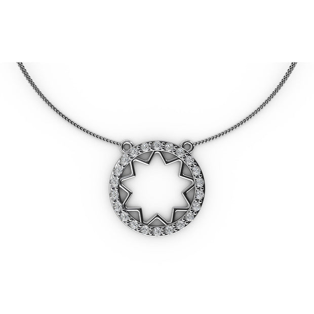 1/2 CT. TW Sterling Silver Lab-Grown Diamond Open Starburst Medallion Necklace