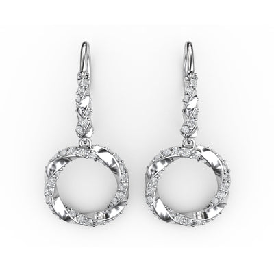 1 CT. TW Sterling Silver Lab-Grown Diamond Circle Wreath Dangle Earrings