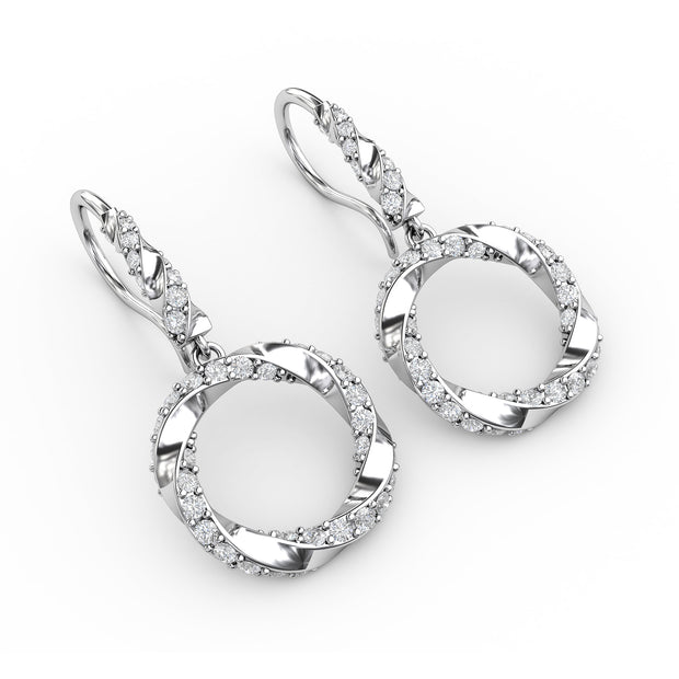 1 CT TW <strong>Sterling Silver</strong> Lab-Grown Diamond Circle Wreath Dangle Earrings