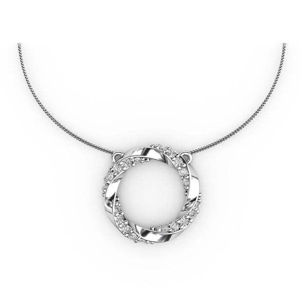½ CT TW <strong>Sterling Silver</strong> Lab-Grown Diamond Circle Wreath Necklace