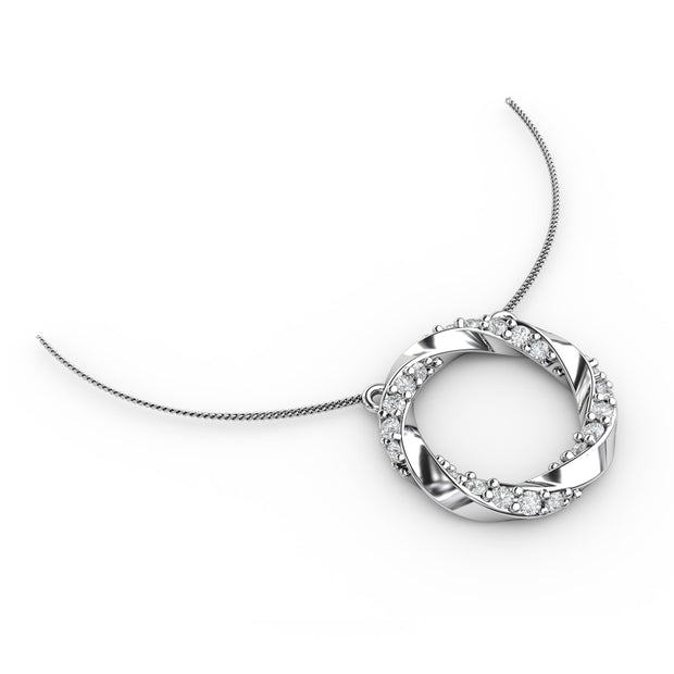 1/2 CT. TW Sterling Silver Lab-Grown Diamond Circle Wreath Necklace