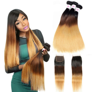 Brazilian Straight Hair Bundles With Closure - Krafti Pop Cosmetics