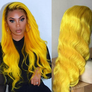 Yellow Human Hair Lace Wig - Krafti Pop