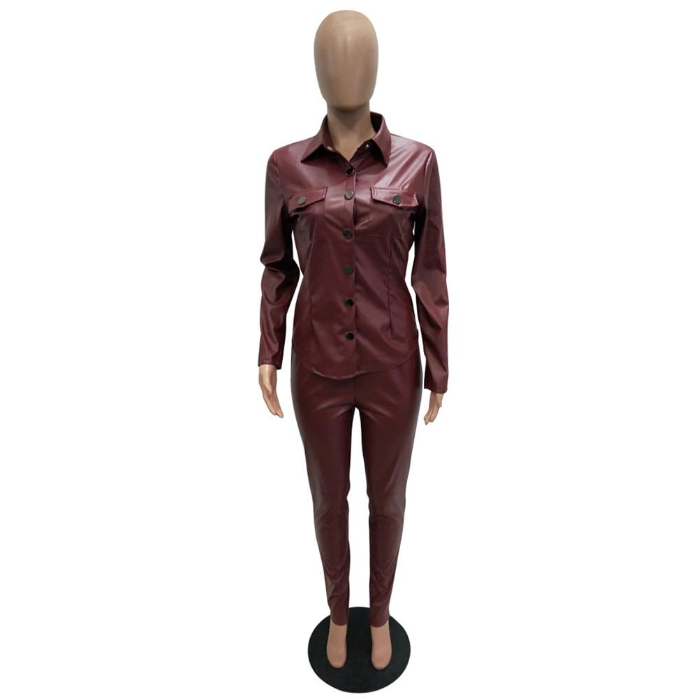 Women's Long Sleeve Shirt And Bodycon Pants - Krafti Pop Cosmetics