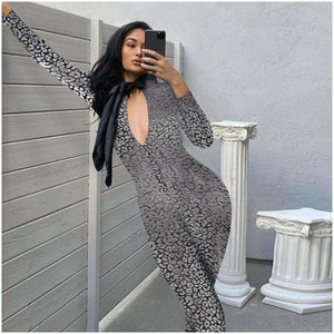 Long Sleeve Bodycon Jumpsuit - Krafti Pop Cosmetics