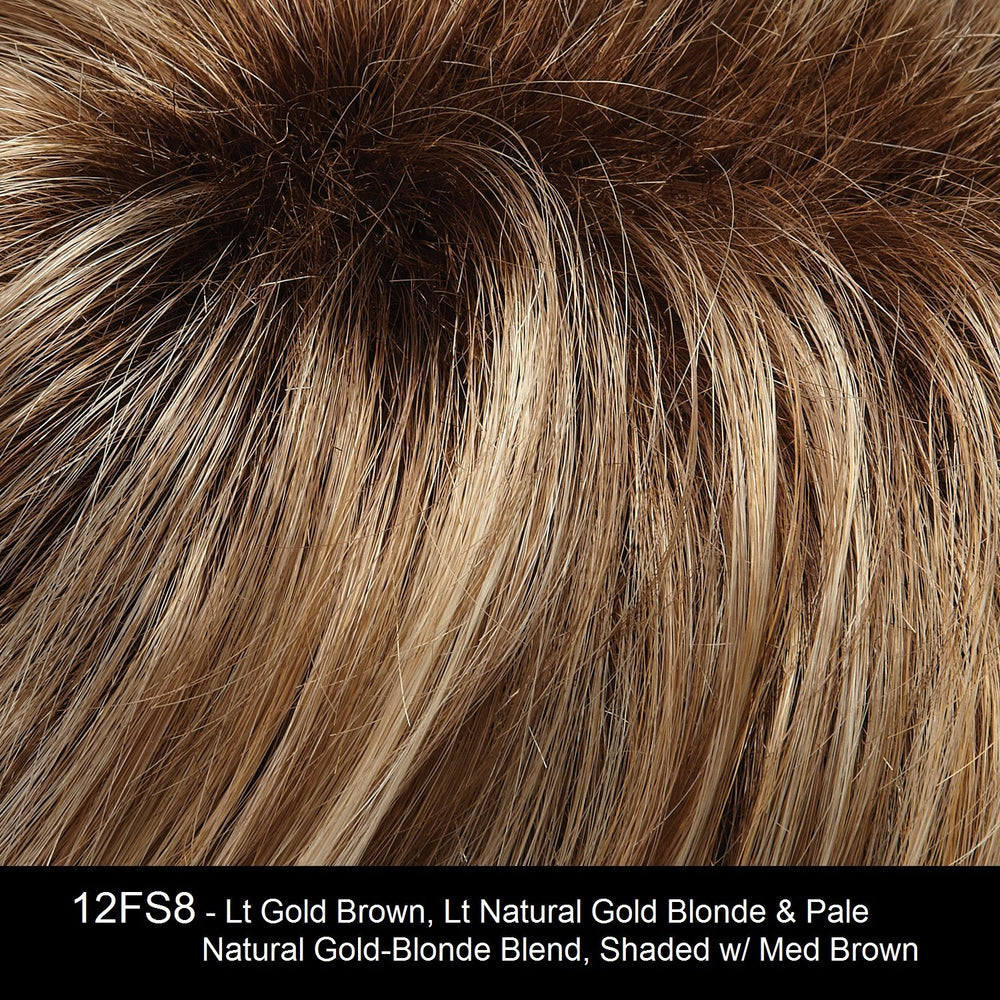 12FS8 | Light Gold Blonde and Pale Natural Blonde Blend, Shaded with Dark Brown