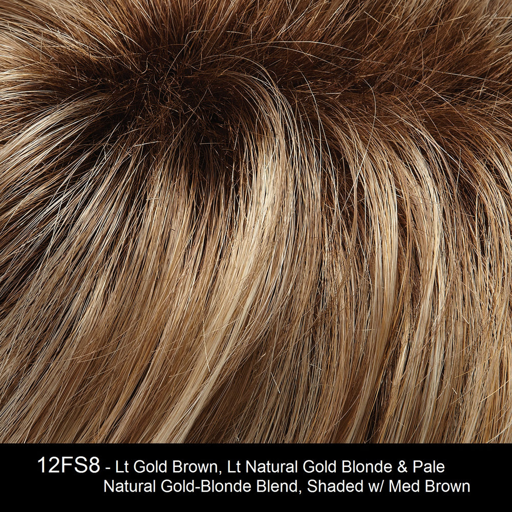 12FS8 - Lt Gold Brown, Lt Natural Gold Blonde & Pale Natural Gold-Blonde Blend, Shaded w/ Med Brown