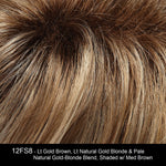 12FS8 | Light Golden Brown,Light Natural Golden Blonde & Pale Natural Gold-Blonde Blend, Shaded w/Medium Brown
