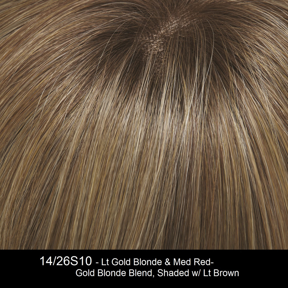 14/26S10 | Lt Gold Blonde & Med Red-Gold Blonde Blend, Shaded w/ Lt Brown