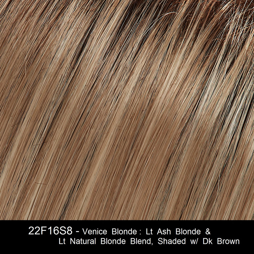 22F16S8 - Venice Blonde: Lt Ash Blonde & Lt Natural Blonde Blend, Shaded w/ Dk Brown