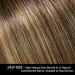 24B18S8 | Med Natural Ash Blonde & Lt Natural Gold Blonde Blend, Shaded w/ Med Brown