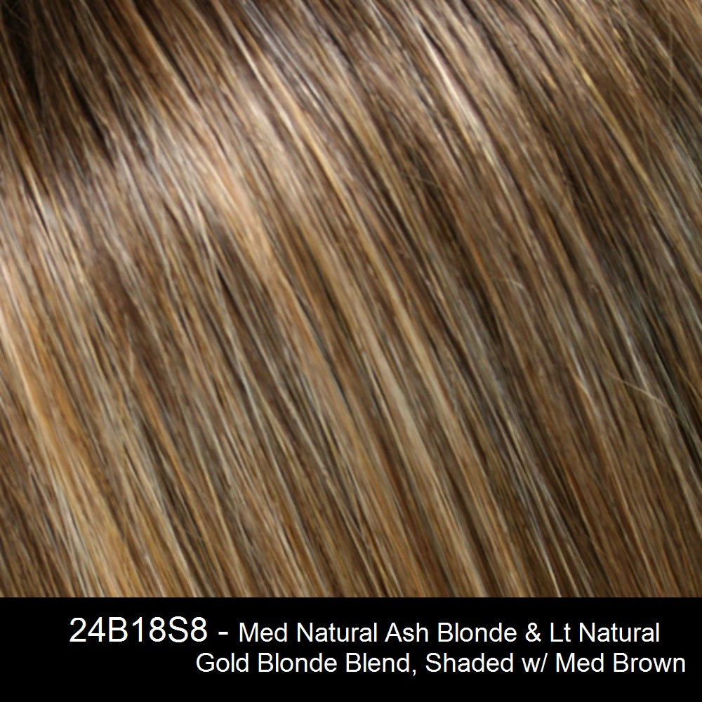 24B18S8 - Med Natural Ash Blonde & Lt Natural Gold Blonde Blend, Shaded w/ Med Brown