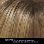 24B/27CS10 - Lt Gold Blonde & Med Red-Gold Blonde Blend, Shaded w/ Lt Brown