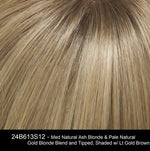 24B613S12 - Med Natural Ash Blonde & Pale Natural Gold Blonde Blend and Tipped, Shaded w/ Lt Gold Brown