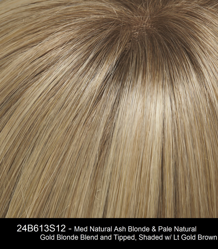 24B613S12 SHADED BUTTER POPCORN | Light Gold Blonde and Warm Pale Natural White/Blonde Blend, Shaded withLight Gold Brown
