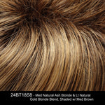 24BT18S8 - Med Natural Ash Blonde & Lt Natural Gold Blonde Blend, Shaded w/ Med Brown