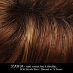 30A27S4 | Medium Natural Red and Medium Red-Gold Blonde Blend, Shaded with Dark Brown