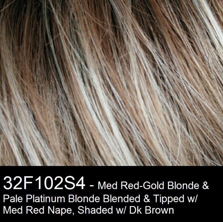 32F102S4 | Medium Red and Medium Red-Gold Blonde Blend with Pale Platinum Blonde Tips and Medium Red Nape, Shaded with Dark Brown