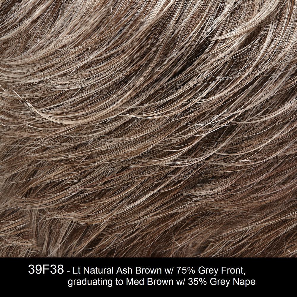 39F38 | Lt Natural Ash Brown w/ 75% Grey Front, graduating to Med Brown w/ 35% Grey Nape