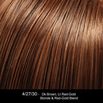 4/27/30 GERMAN CHOCOLATE | Darkest Brown Evenly Blended and Tipped with Light Red-Gold Blonde and Red-Gold Blend