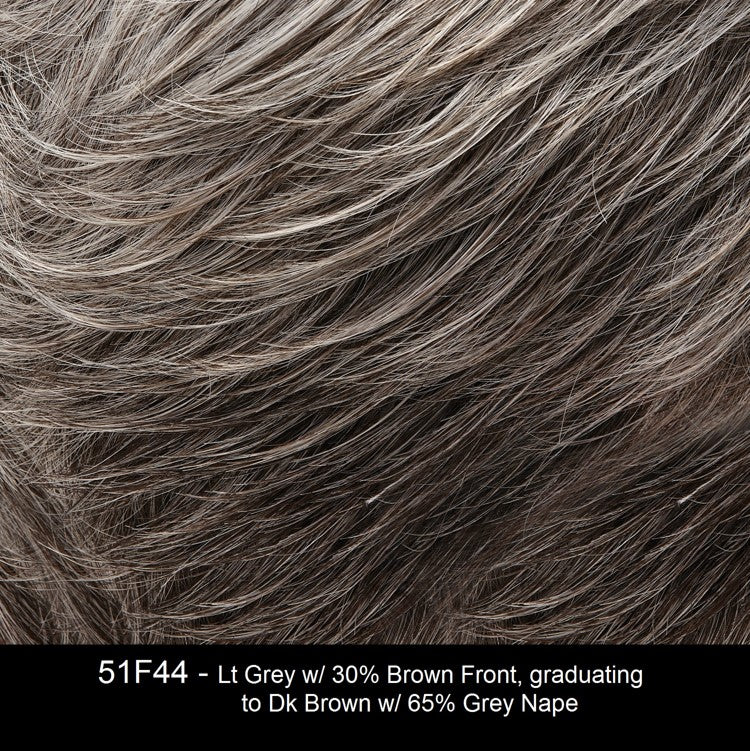 51F44 WHITE RUSSIAN | Light Grey with 30% Brown Front, graduating to Dark Brown with 65% Grey Nape