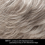56F51 OYSTER | Light Grey with 20% Medium Brown Front, graduating to Grey with 30% Medium Brown Nape