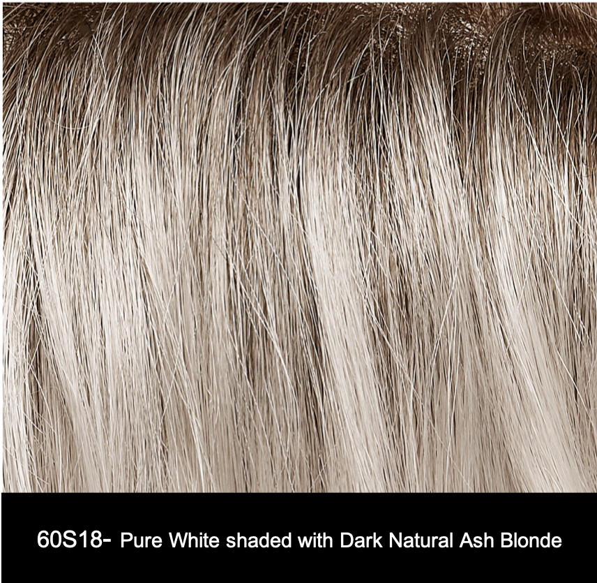 60S18 | Pure White shaded with Dark Natural Ash Blonde