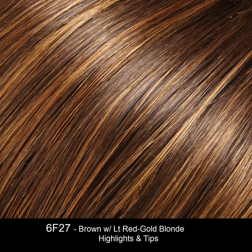 6F27 - Brown with Light Red Gold Blonde highlights & tips