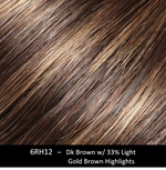 6RH12 | Dark Brown with 33% Light Gold Brown Highlights