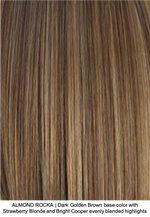 ALMOND ROCKA | Dark Golden Brown base color with Strawberry Blonde and Bright Copper evenly blended highlights