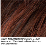 AUBURN ROOTED | Dark Auburn, Medium Auburn, and Warm Medium Brown blend and Dark Brown Roots