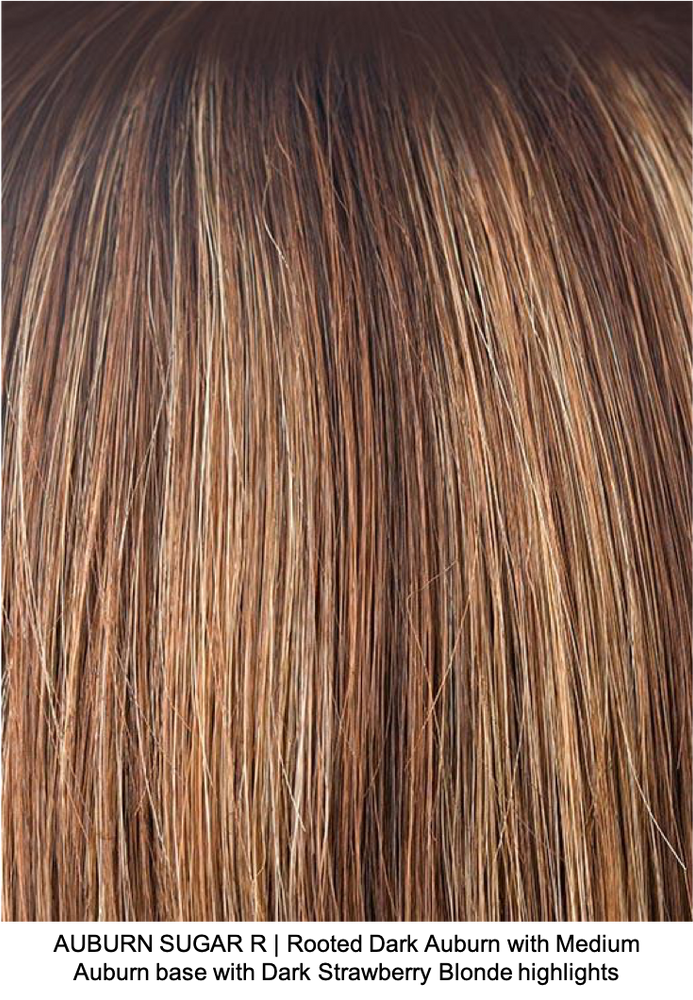 AUBURN SUGAR R | Rooted Dark Auburn with Medium Auburn base with Dark Strawberry Blonde highlights