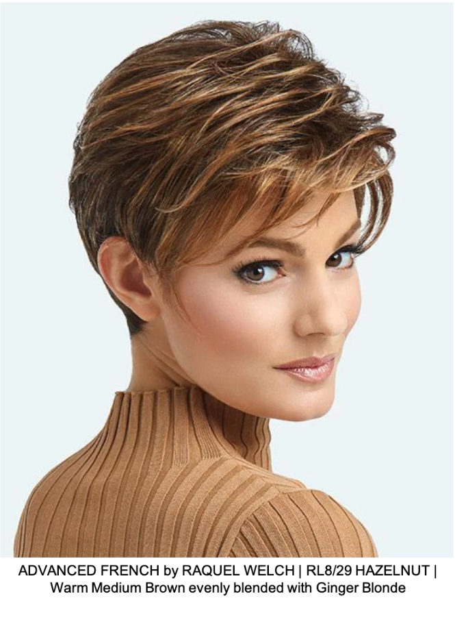 ADVANCED FRENCH by RAQUEL WELCH | RL8/29 HAZELNUT | Warm Medium Brown evenly blended with Ginger Blonde