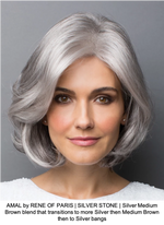 AMAL by RENE OF PARIS | SILVER STONE | Silver Medium Brown blend that transitions to more Silver then Medium Brown then to Silver bangs