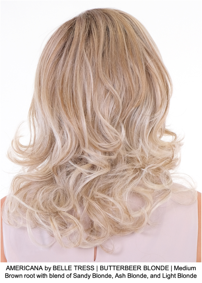 AMERICANA by BELLE TRESS | BUTTERBEER BLONDE | Medium Brown root with blend of Sandy Blonde, Ash Blonde, and Light Blonde