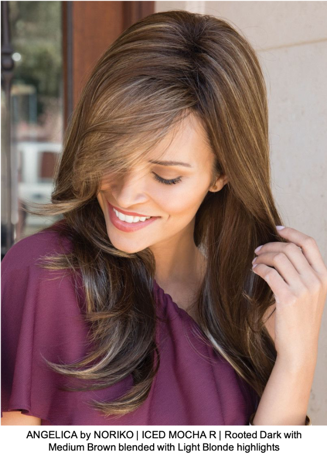 ANGELICA by NORIKO | ICED MOCHA R | Rooted Dark with Medium Brown blended with Light Blonde highlights