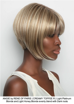 ANGIE by RENE OF PARIS | CREAMY TOFFEE R | Light Platinum Blonde and Light Honey Blonde evenly blend with Dark roots