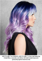 ARCTIC MELT by HAIRDO | ARCTIC MELT | Color melt featuring Cobalt Blue, Lavender, and Silver with dark rooted base and graduating lighter towards ends