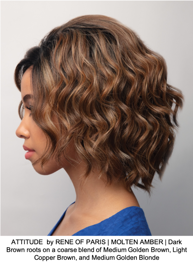 ATTITUDE  by RENE OF PARIS | MOLTEN AMBER | Dark Brown roots on a coarse blend of Medium Golden Brown, Light Copper Brown, and Medium Golden Blonde