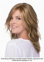 AVALON by ESTETICA | R12/26H HONEY PECAN | Light Brown with Golden Blonde Highlights on Top