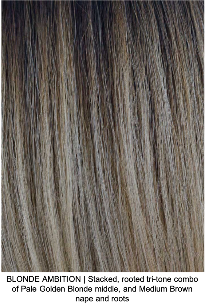 BLONDE AMBITION | Stacked, rooted tri-tone combo of Pale Golden Blonde middle, and Medium Brown nape and roots