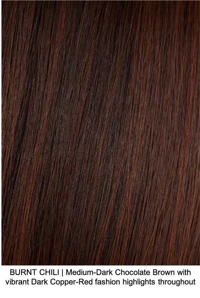 BURNT CHILI | Medium-Dark Chocolate Brown with vibrant Dark Copper-Red fashion highlights throughout