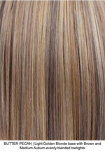 BUTTER PECAN | Light Golden Blonde base with Brown and Medium Auburn evenly blended lowlights