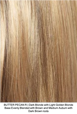BUTTER PECAN R | Dark Blonde with Light Golden Blonde Base Evenly Blended with Brown and Medium Auburn with Dark Brown roots
