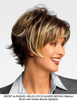 BOOST by RAQUEL WELCH | R11S GLAZED MOCHA | Medium Brown with Golden Blonde highlights